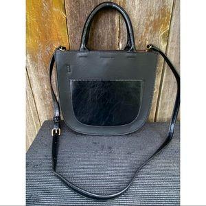 ANTHROPOLOGIE black vegan leather tote purse